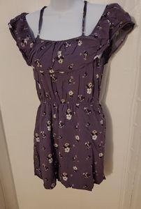 Lavender floral ruffle off shoulder dress